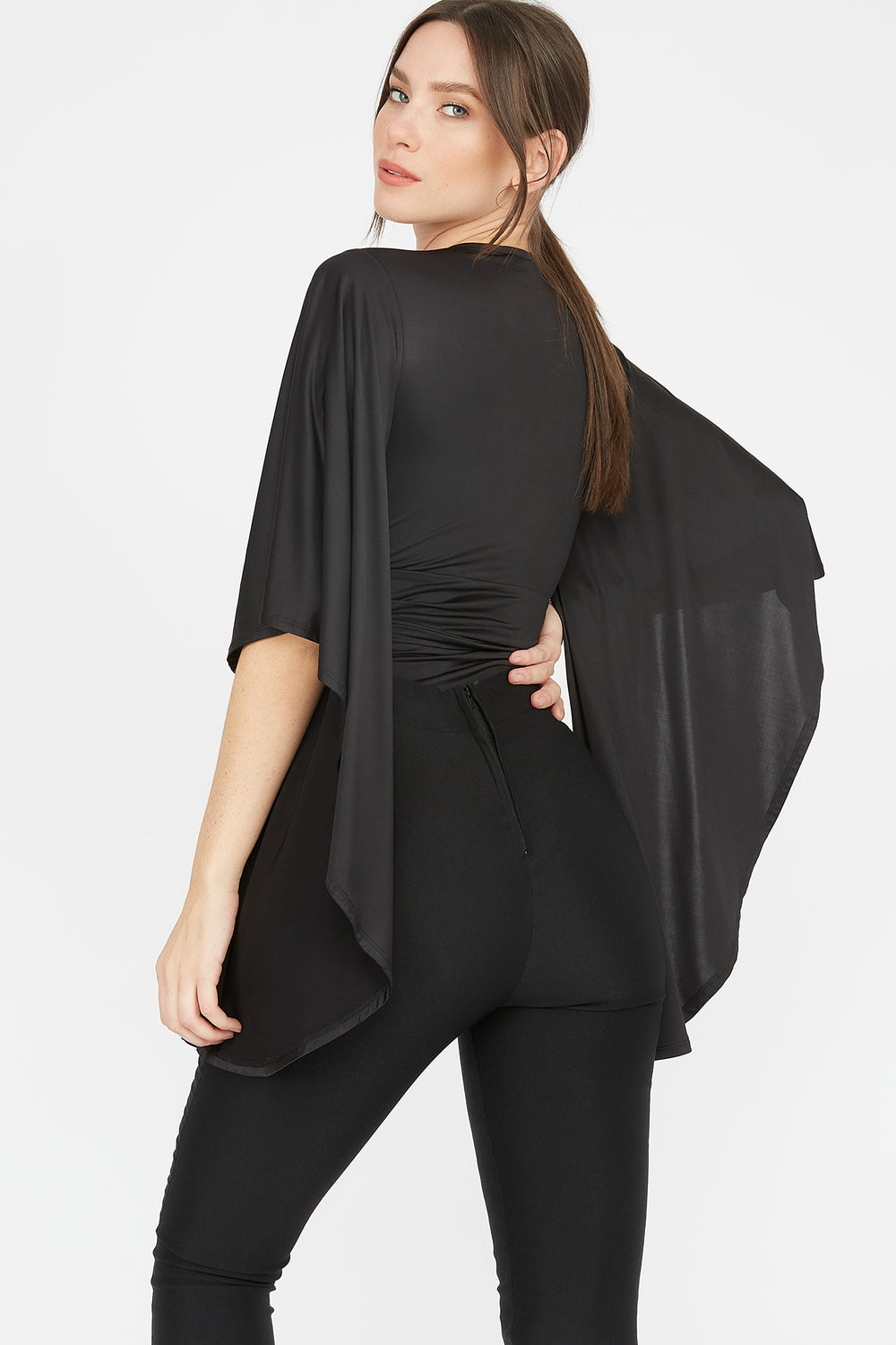 Deep V-Neck Ruffle Bell Sleeve Bodysuit Black