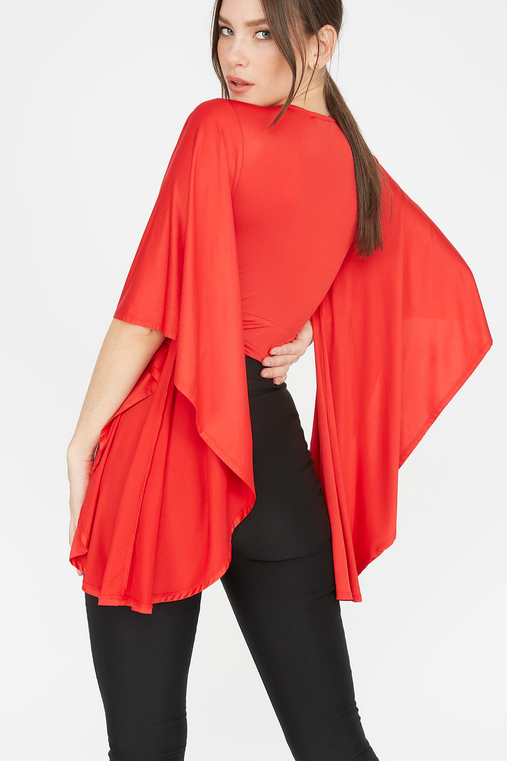 Deep V-Neck Ruffle Bell Sleeve Bodysuit Red