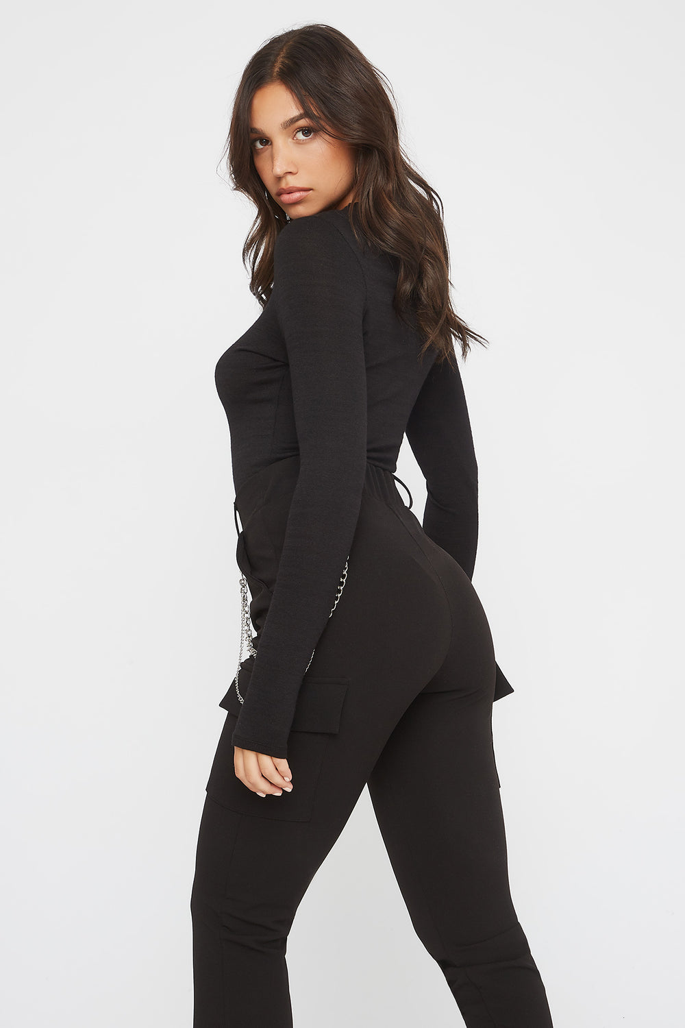 Soft Crew Neck Long Sleeve Bodysuit Black