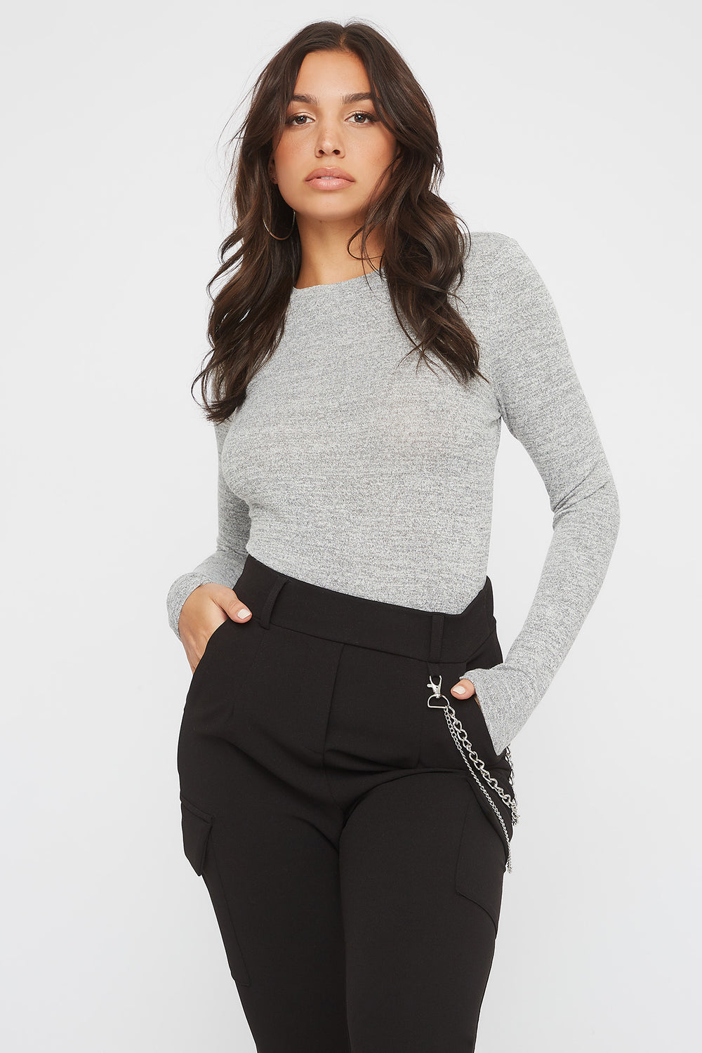 Soft Crew Neck Long Sleeve Bodysuit Heather Grey
