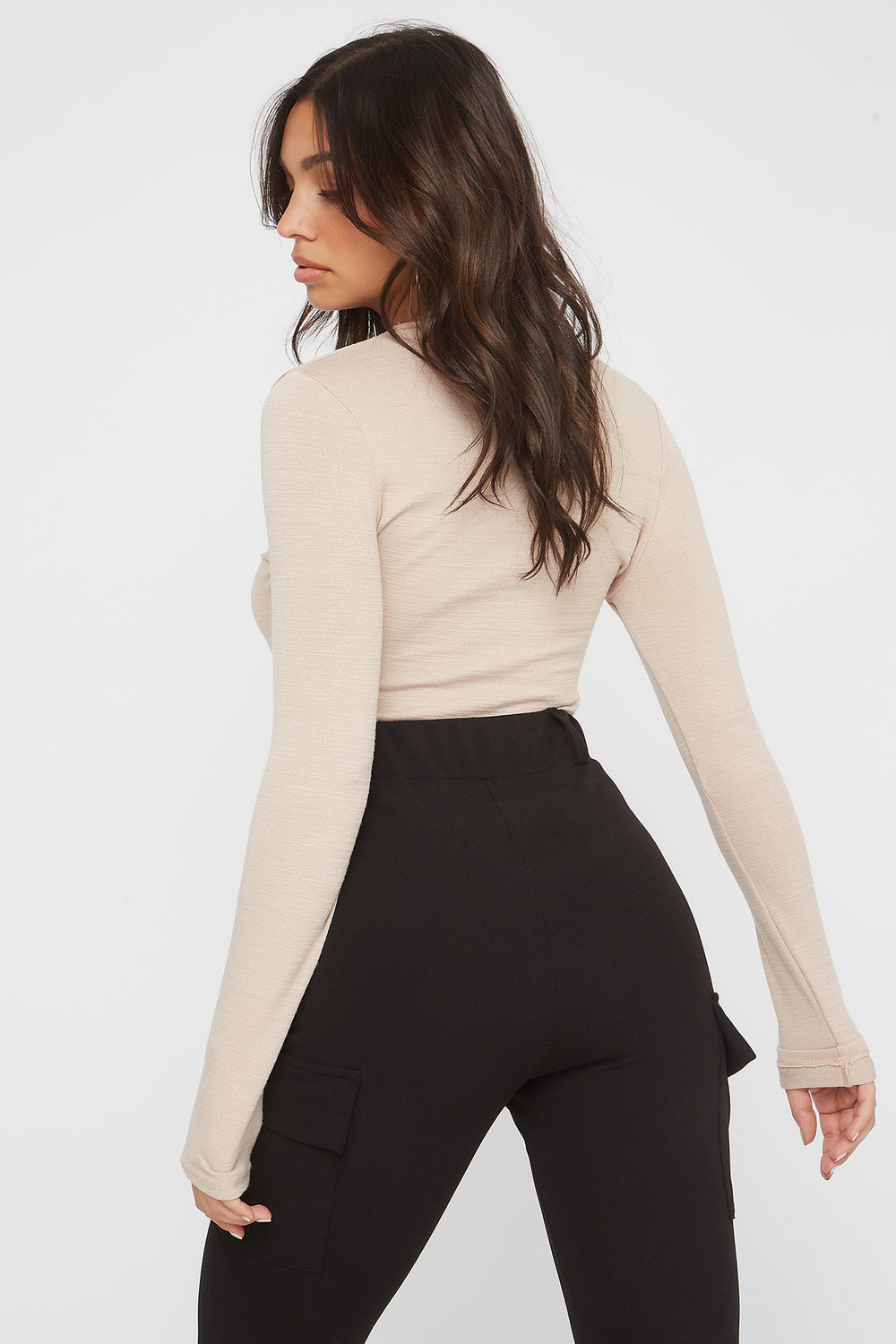 Soft Crew Neck Long Sleeve Bodysuit Oatmeal