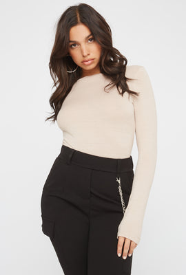 Soft Crew Neck Long Sleeve Bodysuit