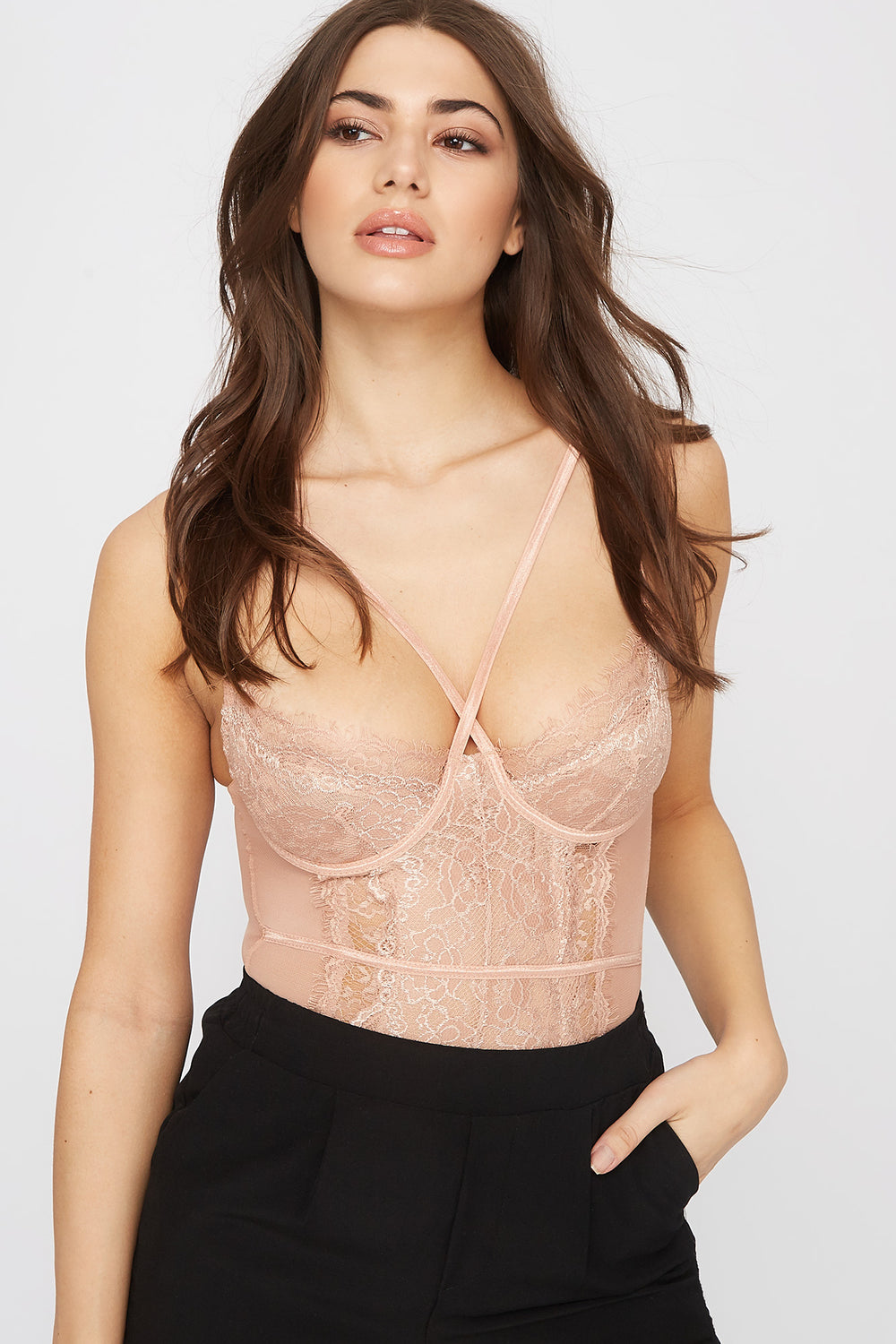 Lace Mesh Strappy Bodysuit Natural