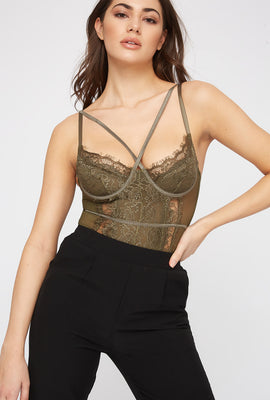 Lace Mesh Strappy Bodysuit