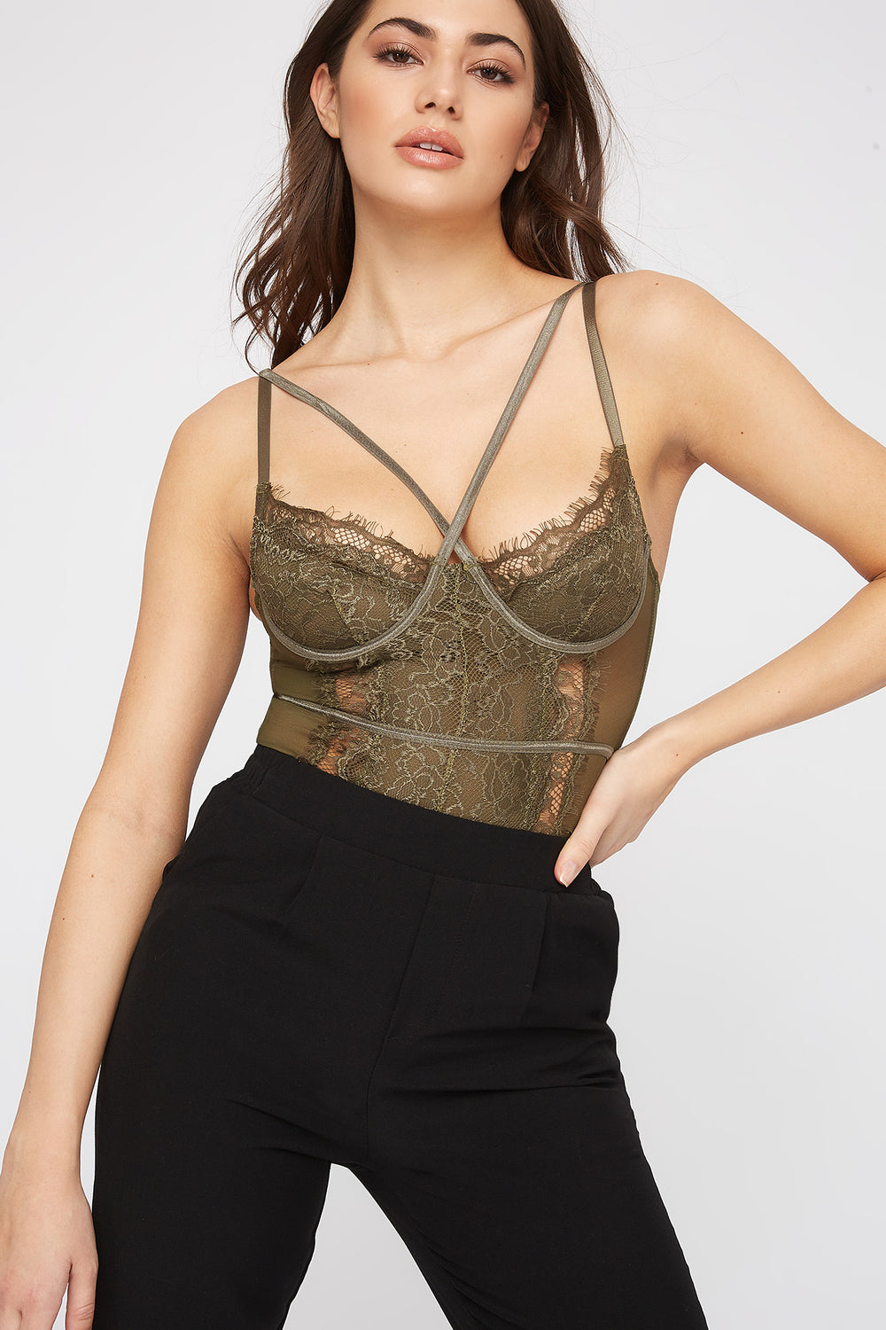 Lace Mesh Strappy Bodysuit Dark Green