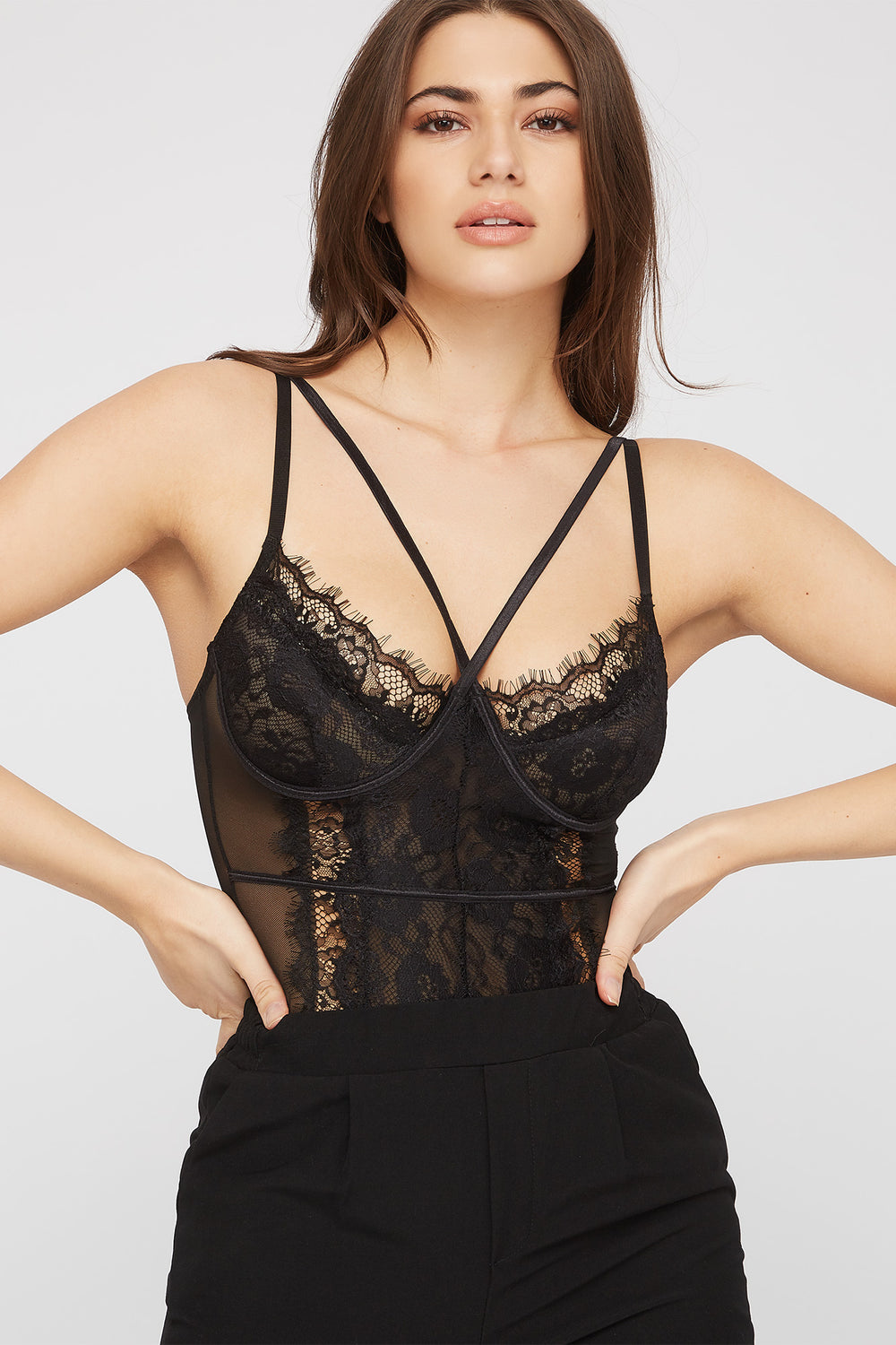 Lace Mesh Strappy Bodysuit Black