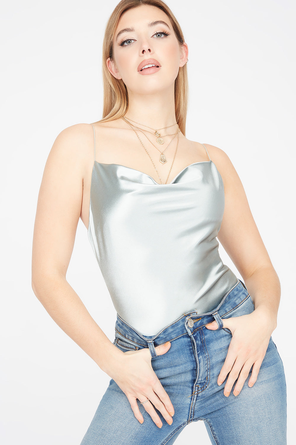 Satin Cowl Neck Bodysuit Sage