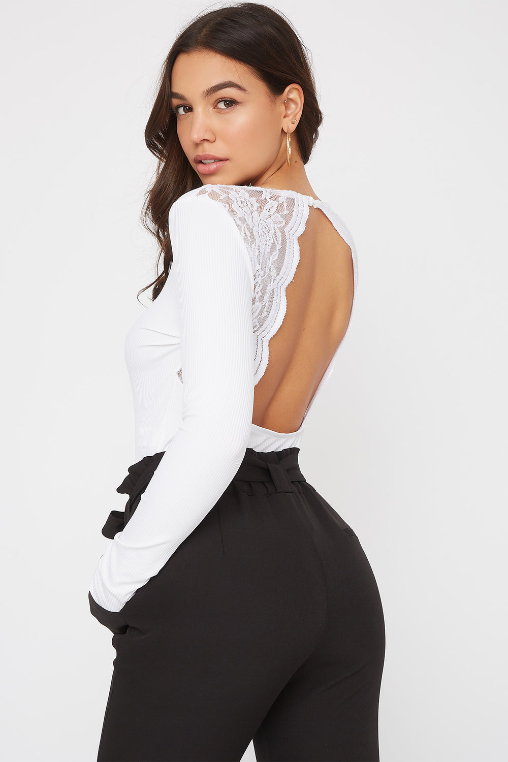 V-Neck Lace Open Back Bodysuit White