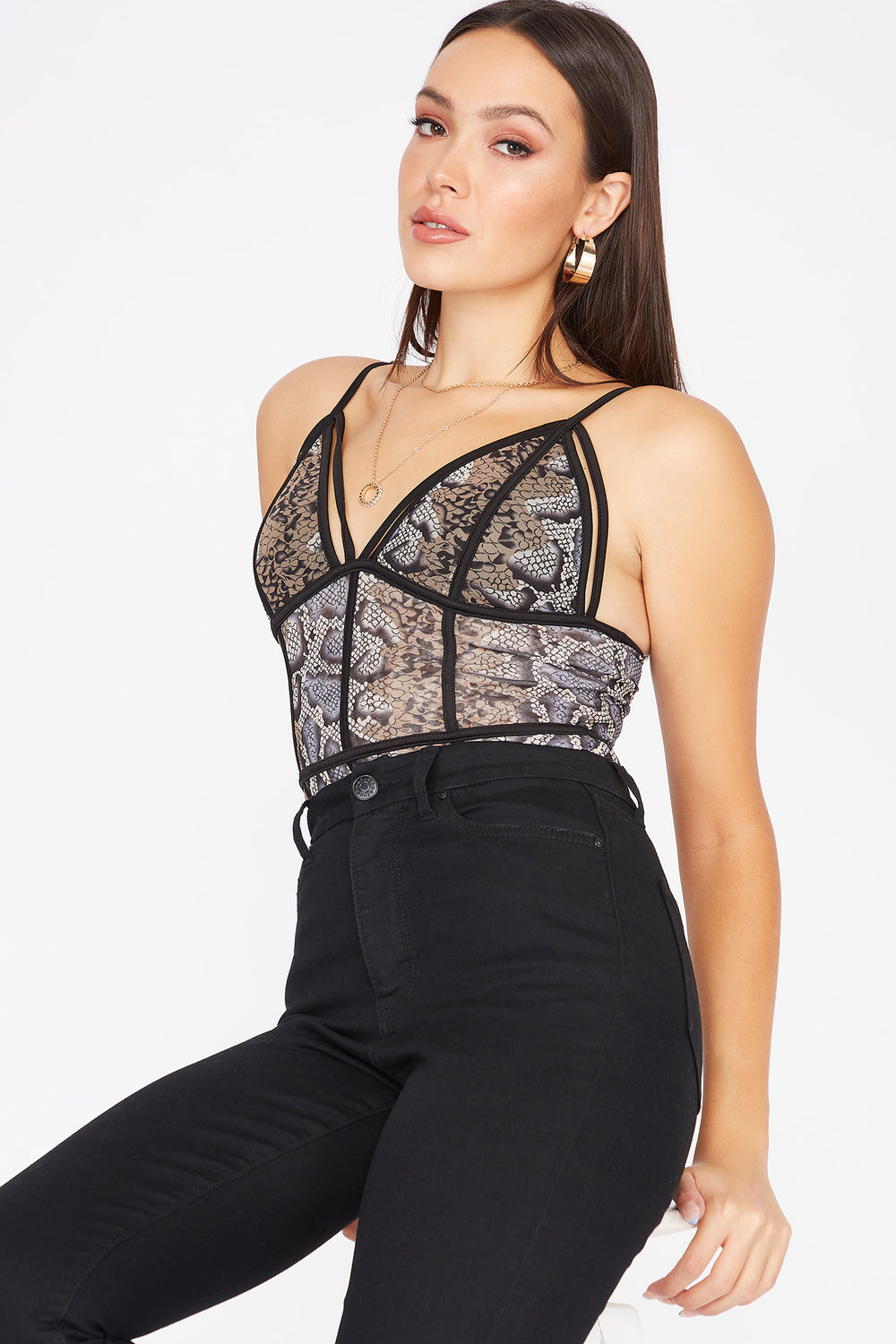 Printed Mesh Strappy Bodysuit Brown