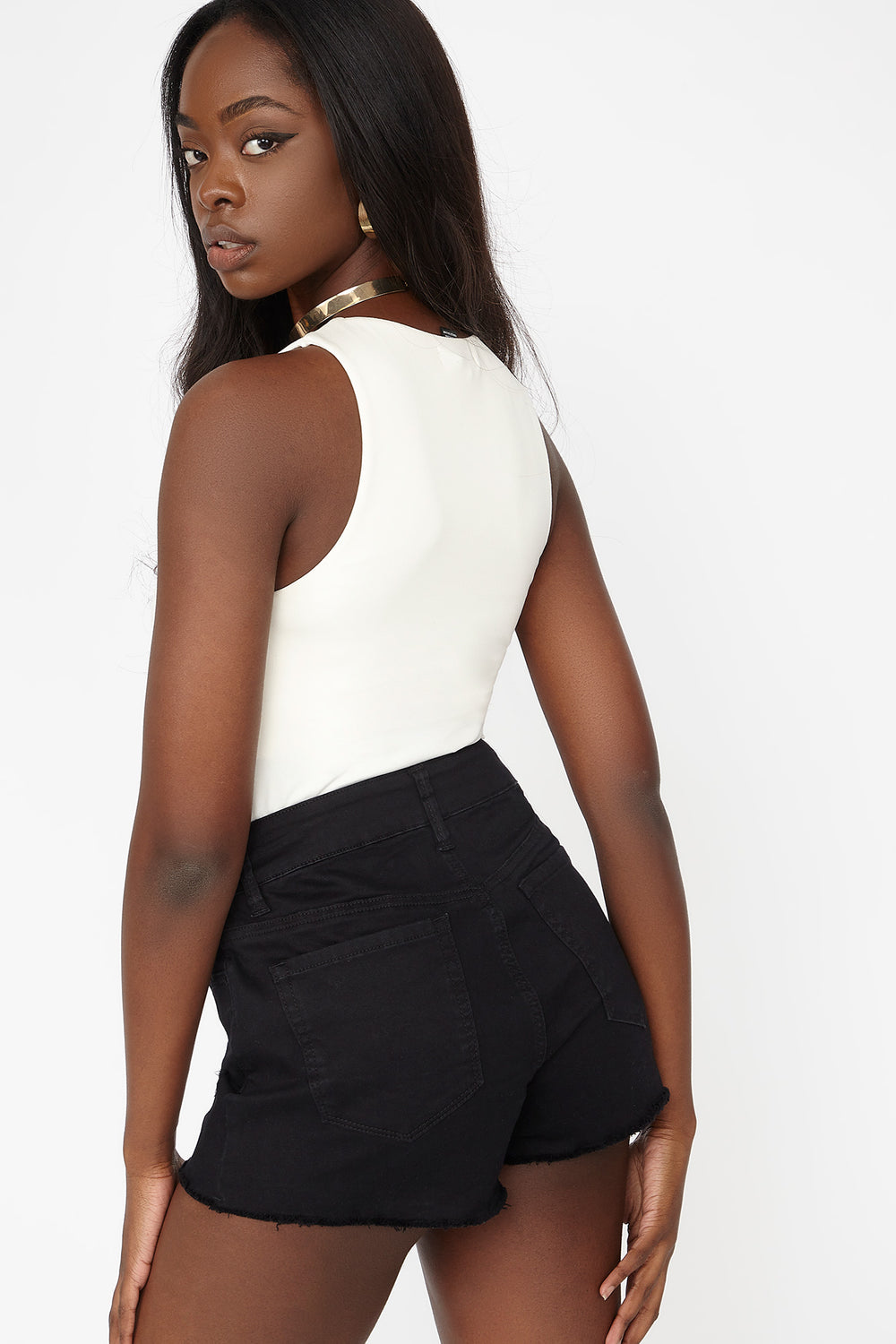 Double Layer High-Neck Sleeveless Bodysuit Off White