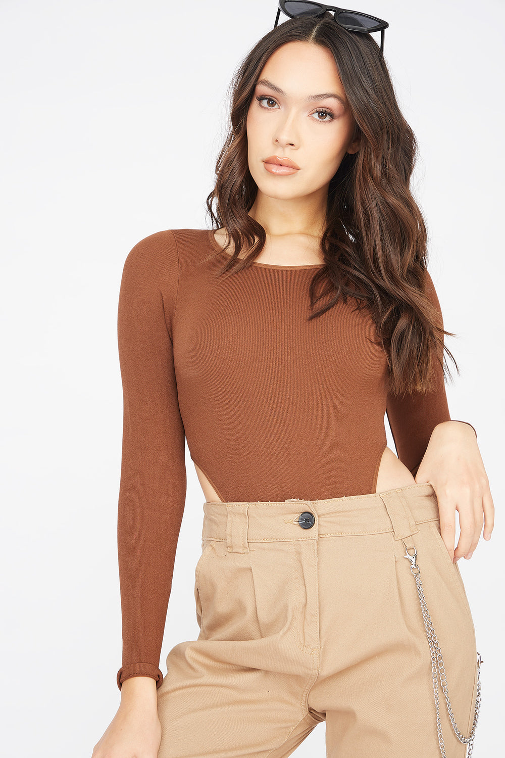 Seamless Scoop Neck High-Cut Long Sleeve Bodysuit Brown