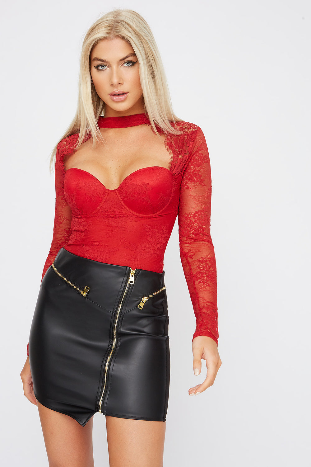Lace Open Neck Bodysuit Red