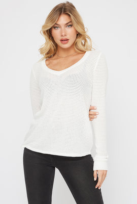 V-Neck Waffle Long Sleeve Sweater