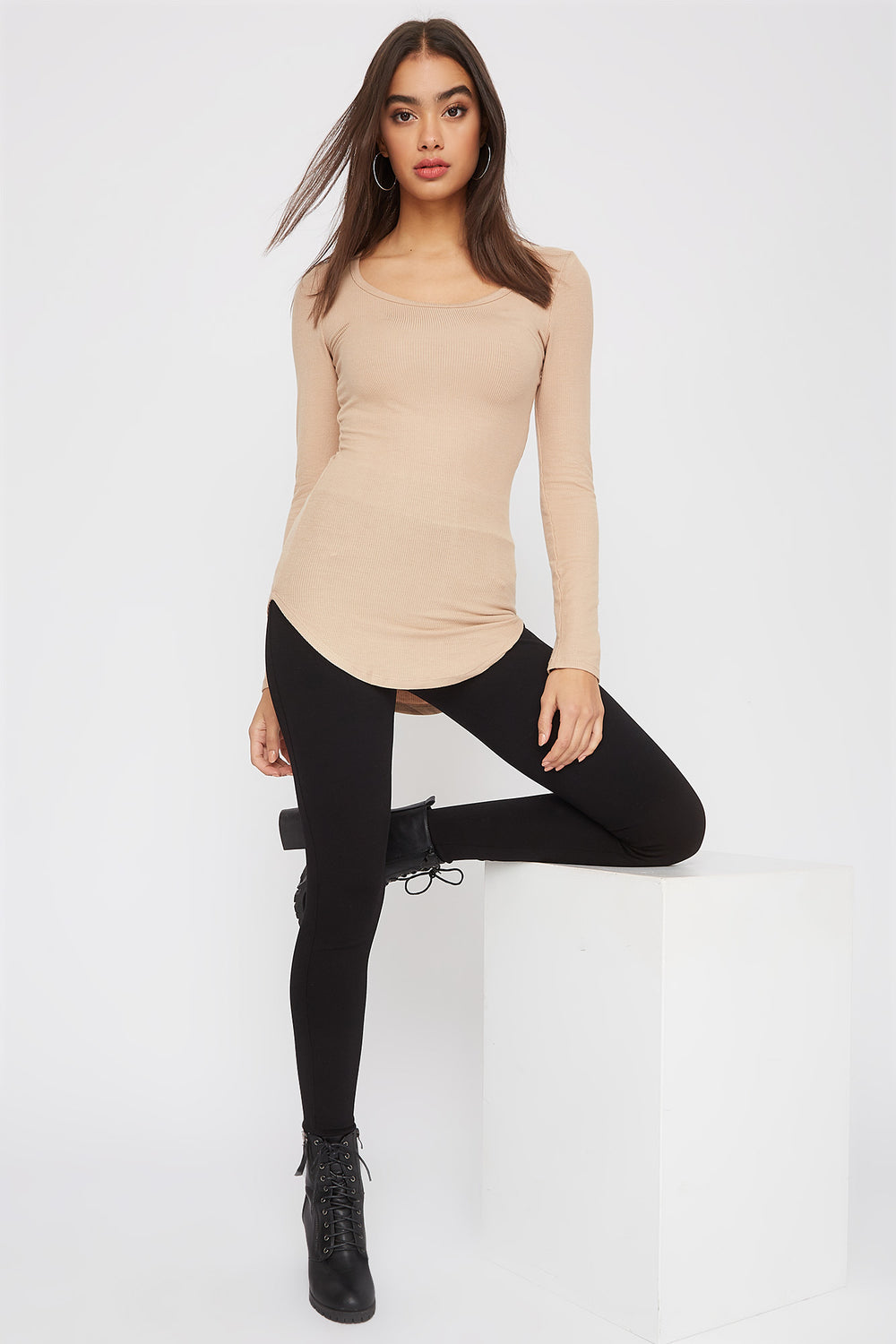 Longline Crew Neck Long Sleeve Taupe