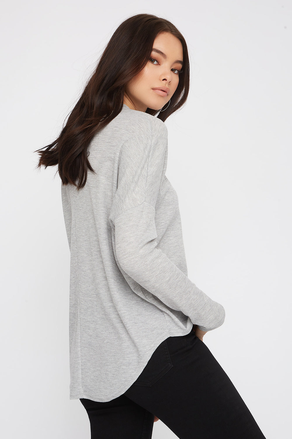 Waffle Knit Mock Neck Oversized Long Sleeve Heather Grey