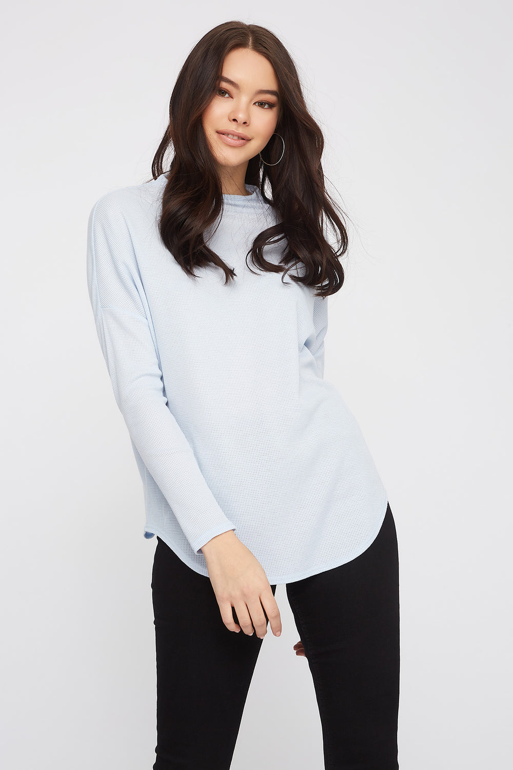 Waffle Knit Mock Neck Oversized Long Sleeve Light Blue
