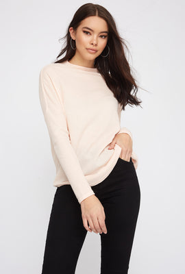 Waffle Knit Mock Neck Oversized Long Sleeve