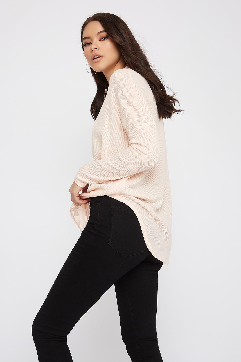 Waffle Knit Mock Neck Oversized Long Sleeve Dusty Rose