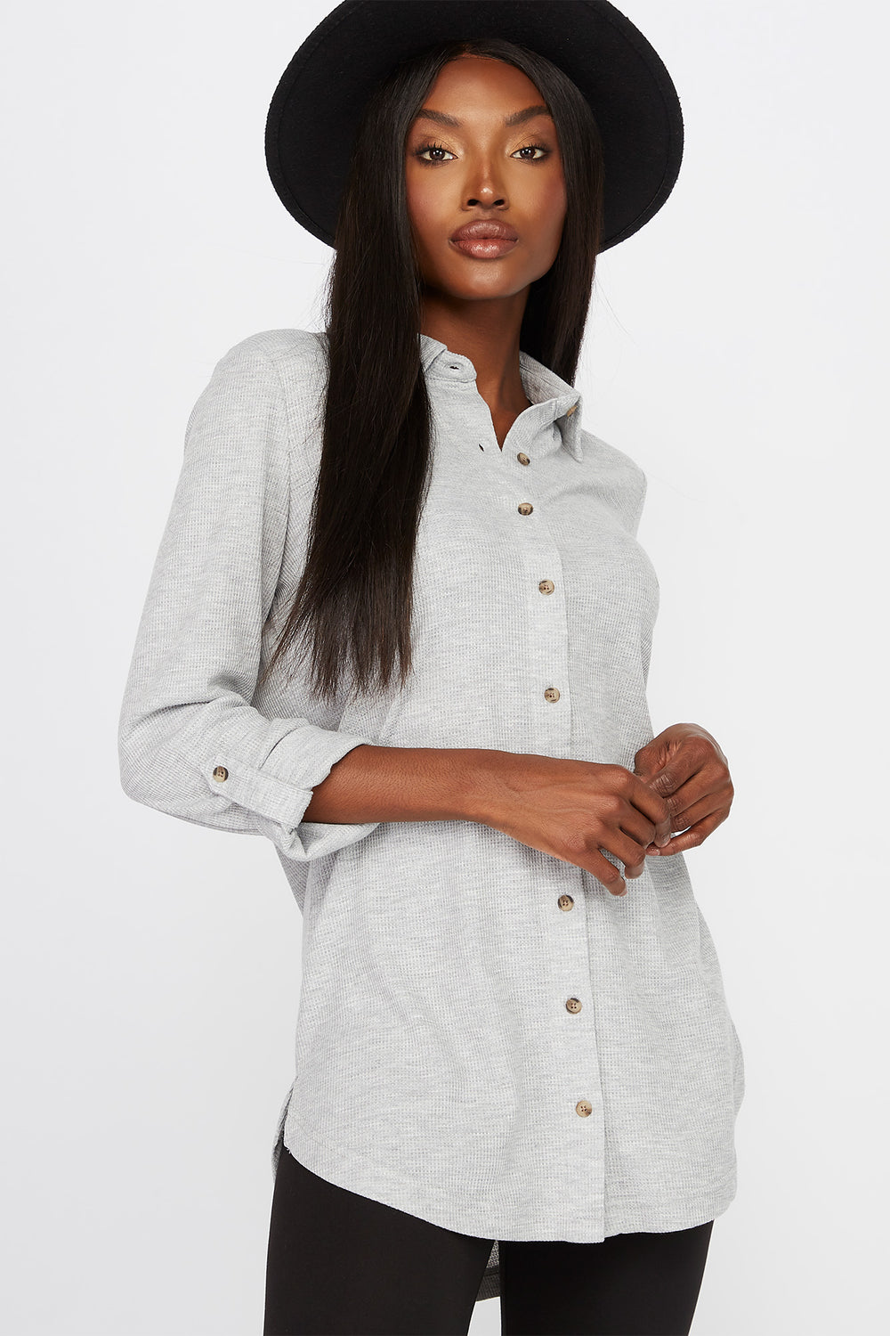 Waffle Button-Up Shirt Heather Grey
