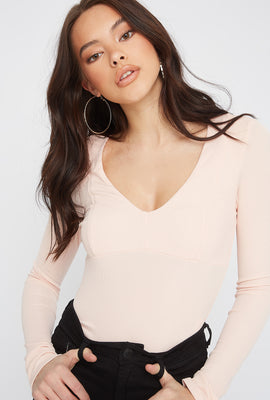 Ribbed V-Neck Empire Waist Long Sleeve