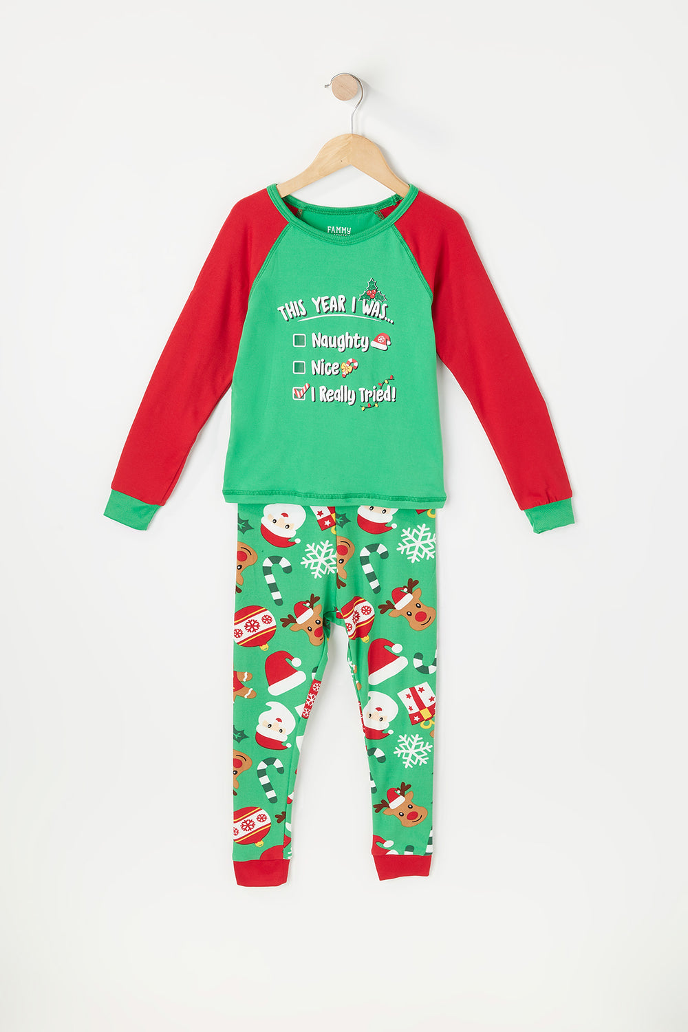 Toddler Fammy Jammies 2-Piece Christmas Naughty Or Nice List  Graphic Long Sleeve Top With Printed Bottom Pajama Set Green