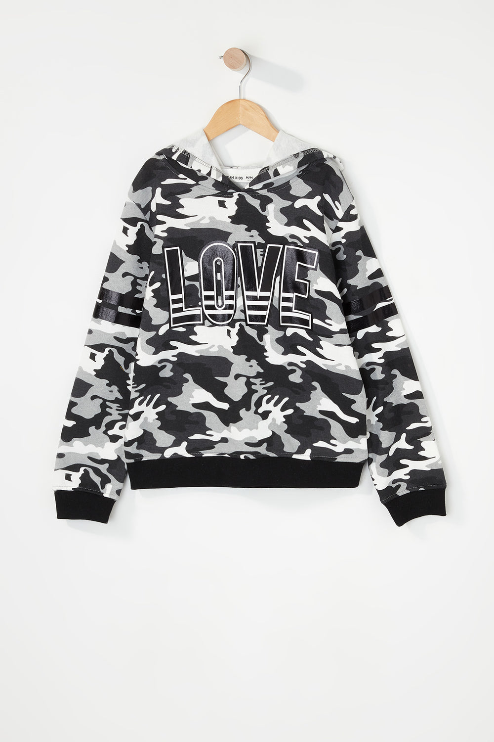 Girls Graphic Camo Popover Hoodie Black