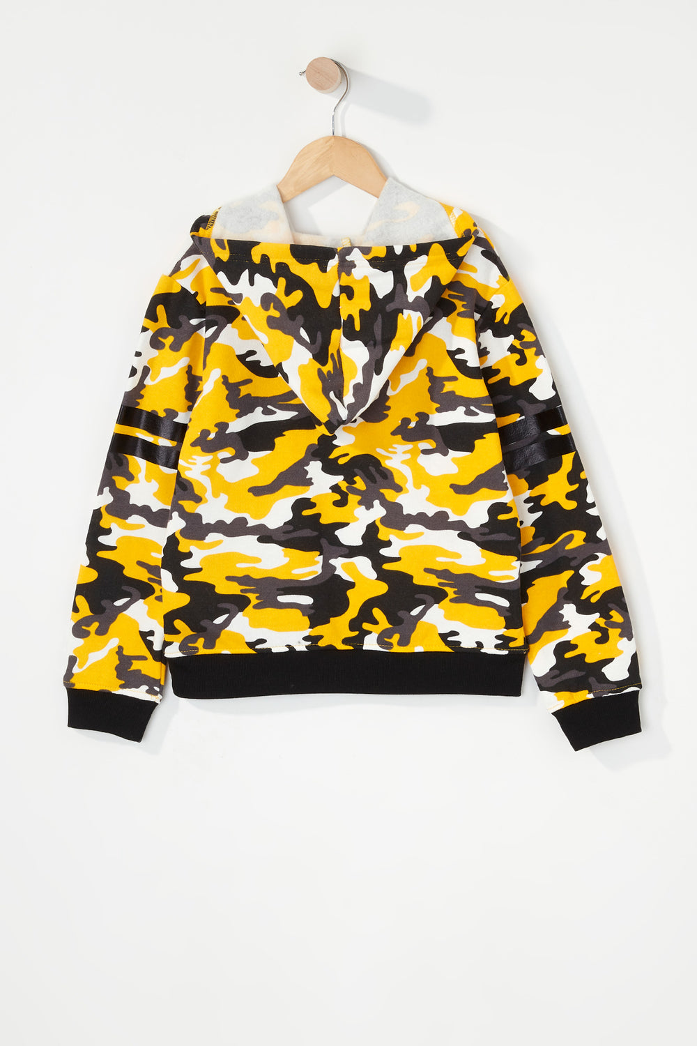 Girls Graphic Camo Popover Hoodie Pale Yellow