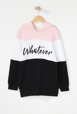 Girls Colour Block Graphic Popover Hoodie