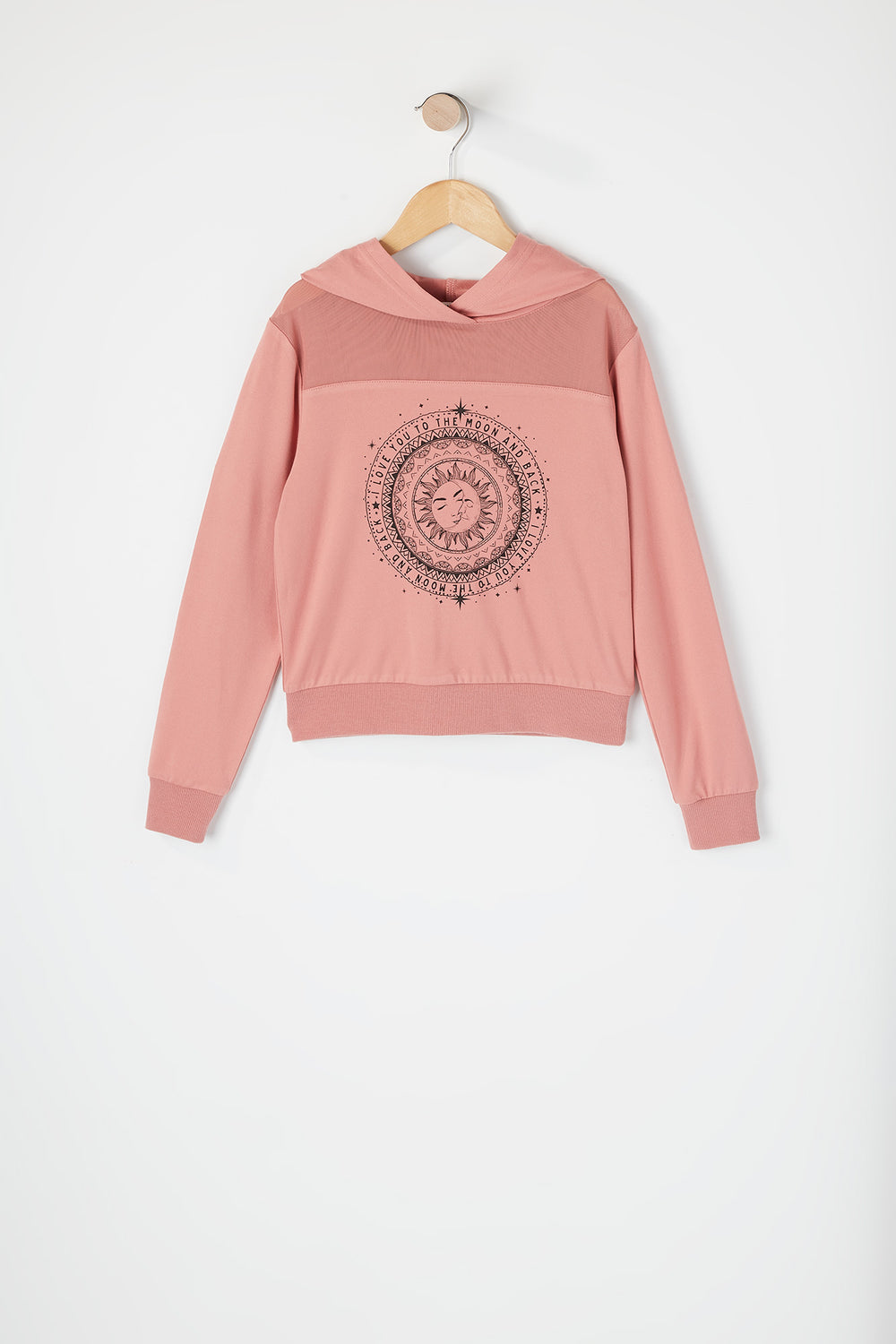 Girls Soft Graphic Mesh Insert Hoodie Dusty Rose