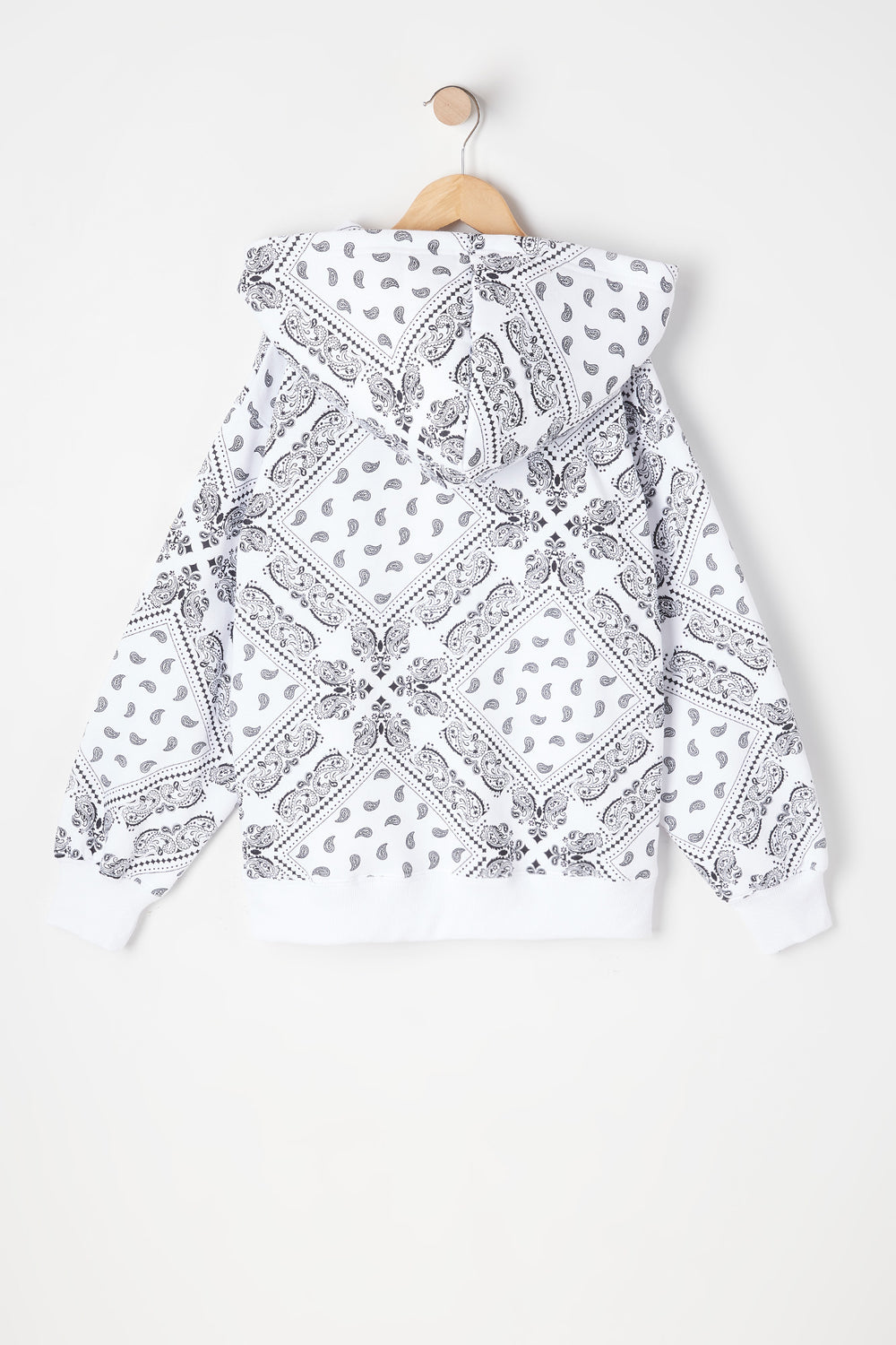 Girls Fleece Oversized Bandana Printed Hoodie White