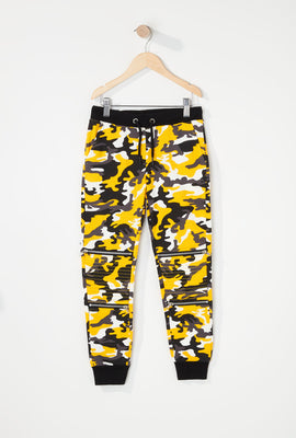Girls Fleece Camo Moto Zipper Jogger