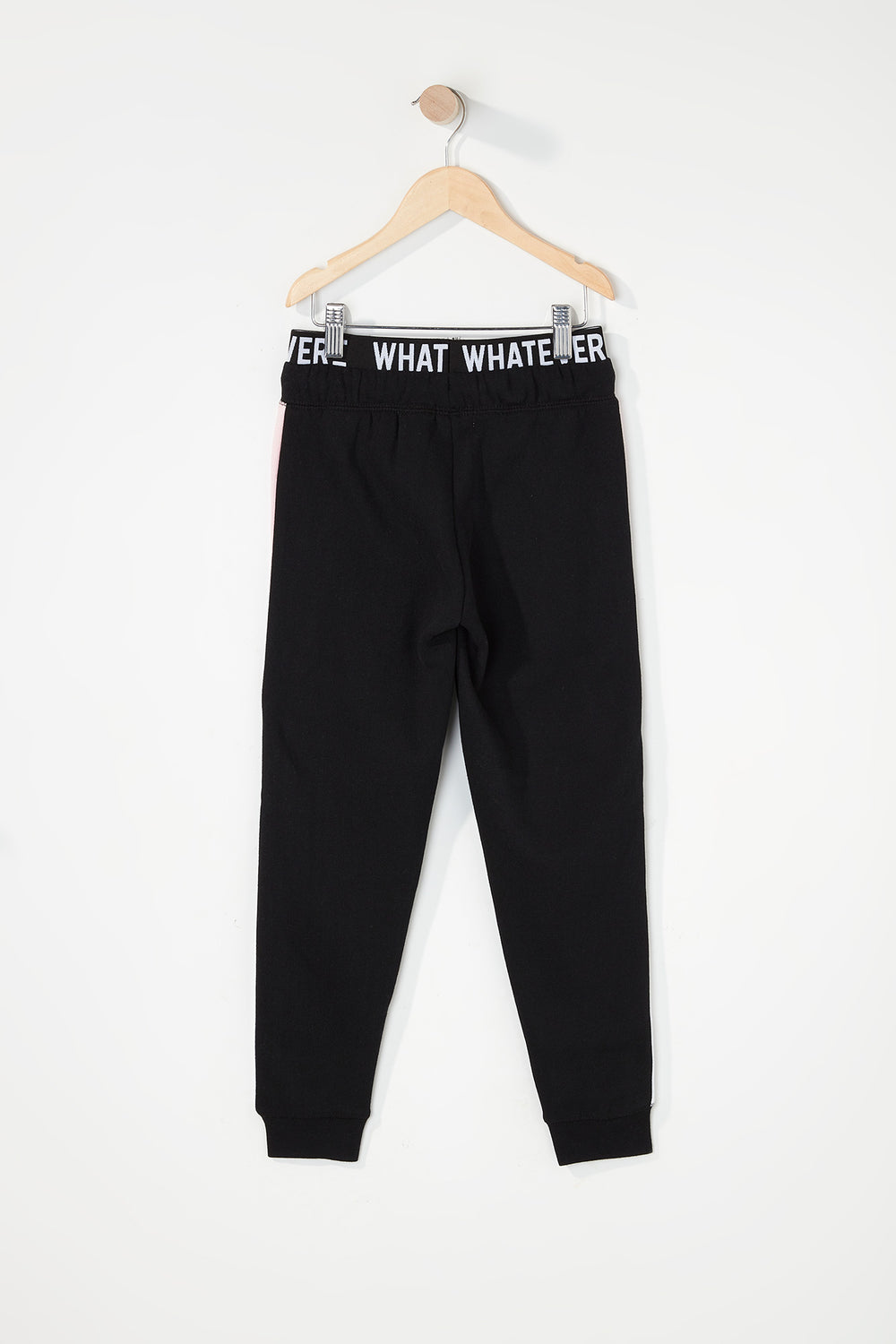 Girls Colour Block Graphic Band Jogger Black