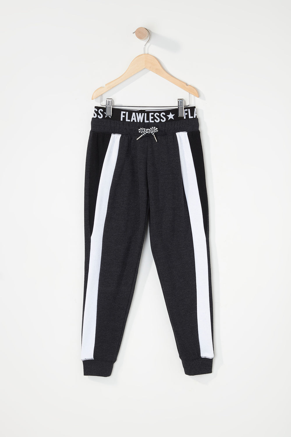 Girls Colour Block Graphic Band Jogger Charcoal