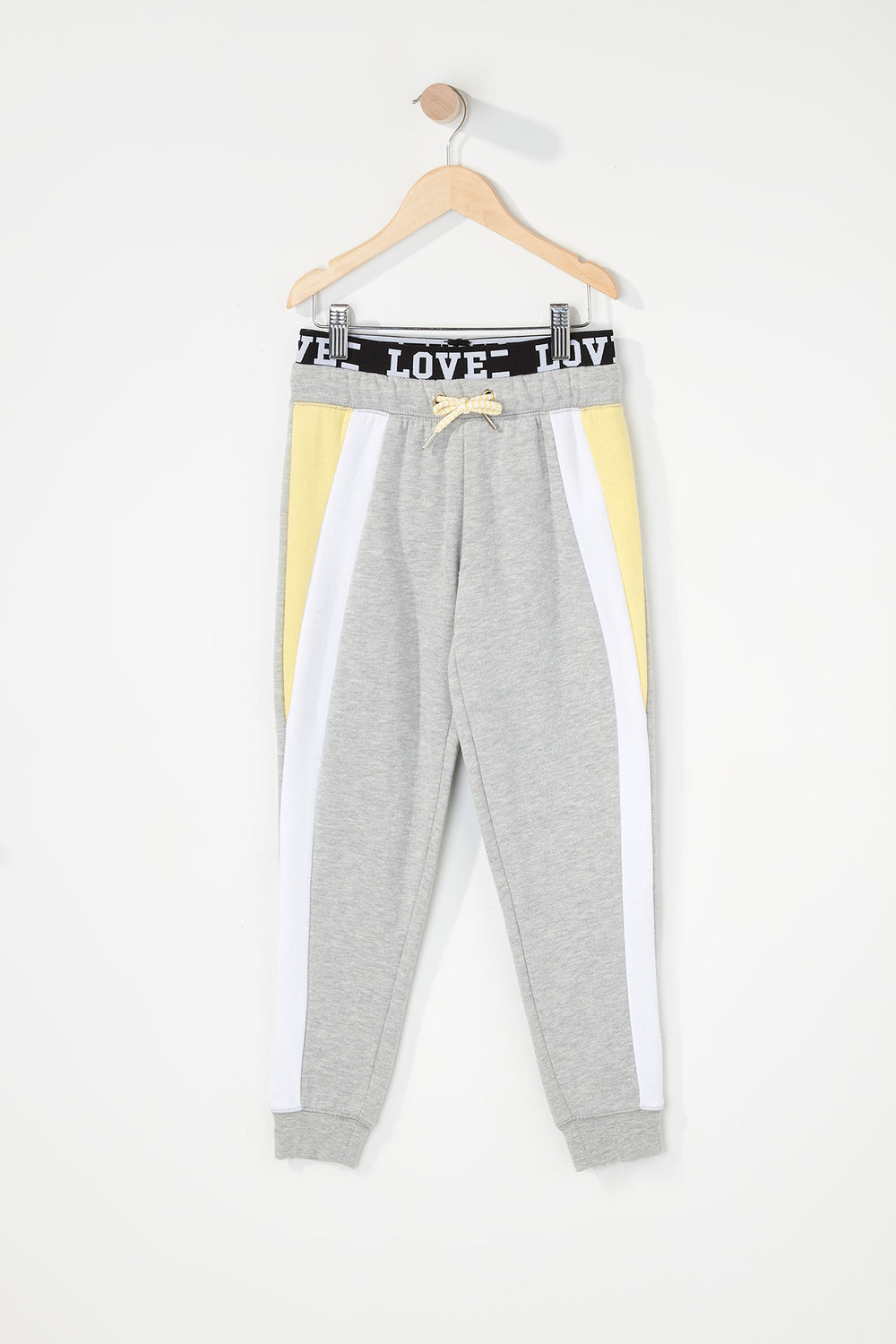 Girls Colour Block Graphic Band Jogger Light Grey