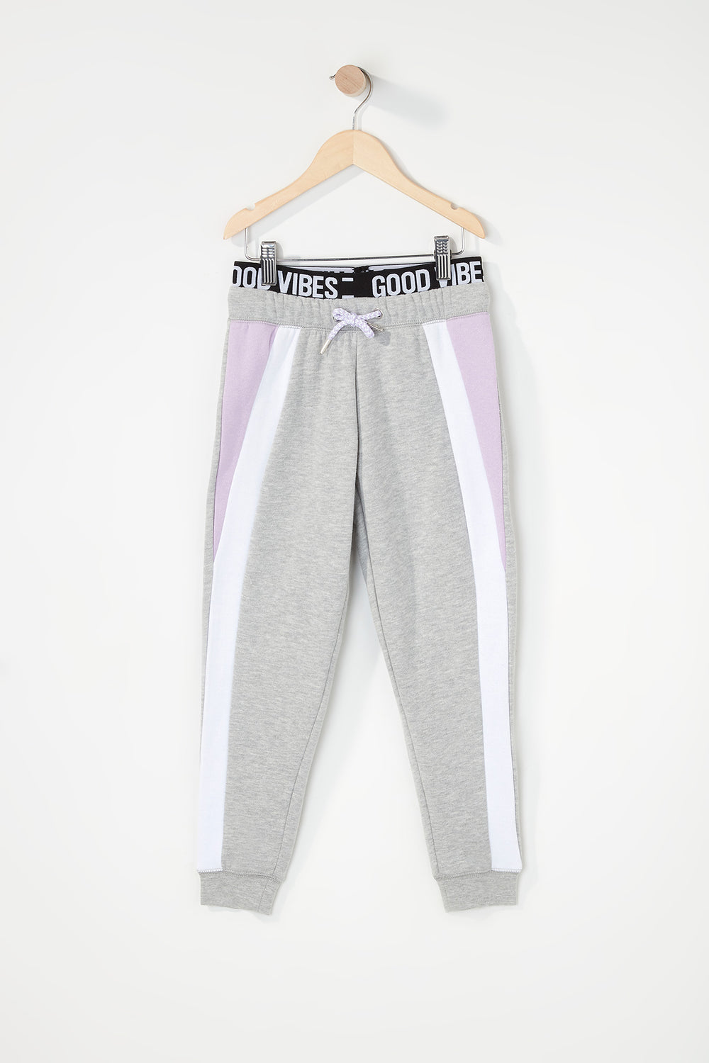 Girls Colour Block Graphic Band Jogger Lilac