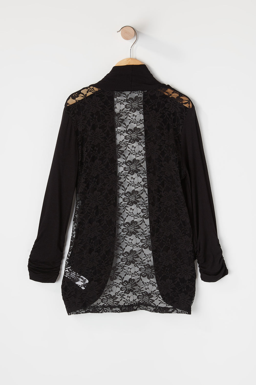 Girls Lace Back Open Front Cardigan Black