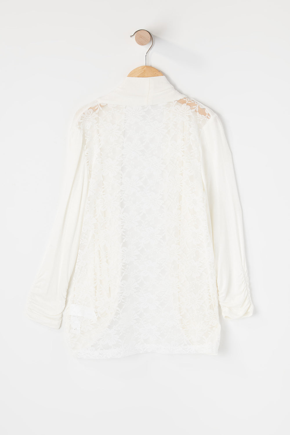 Girls Lace Back Open Front Cardigan Off White