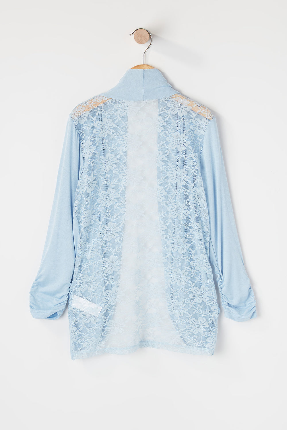Girls Lace Back Open Front Cardigan Light Blue