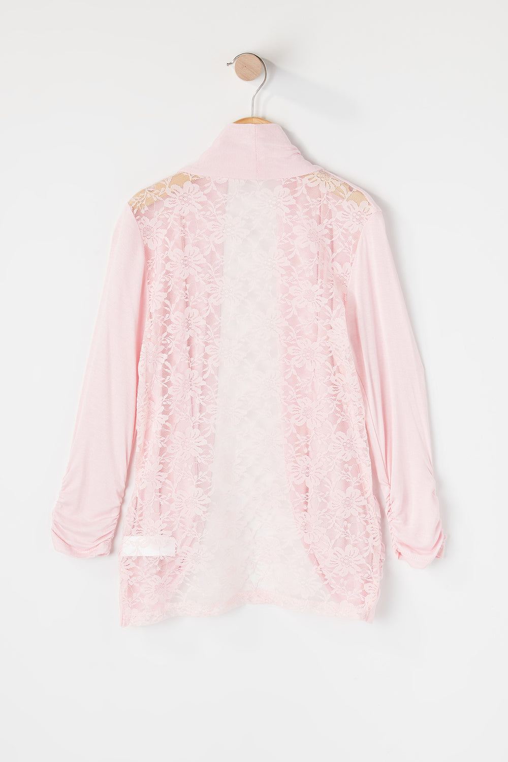 Girls Lace Back Open Front Cardigan Peach