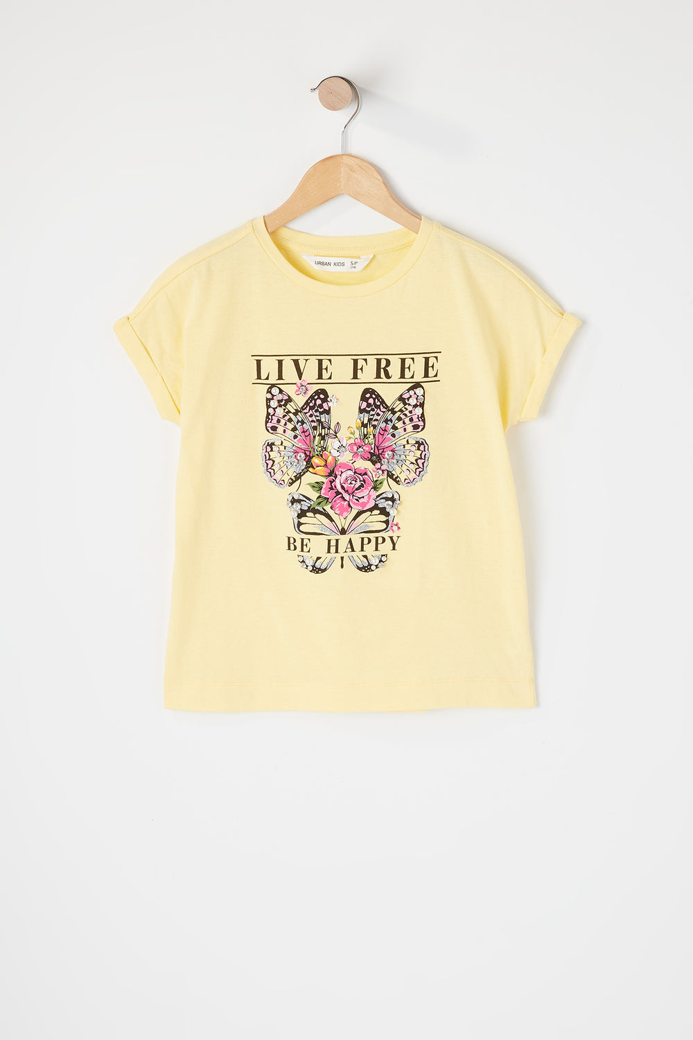 Girls Graphic Pearl T-Shirt Pale Yellow