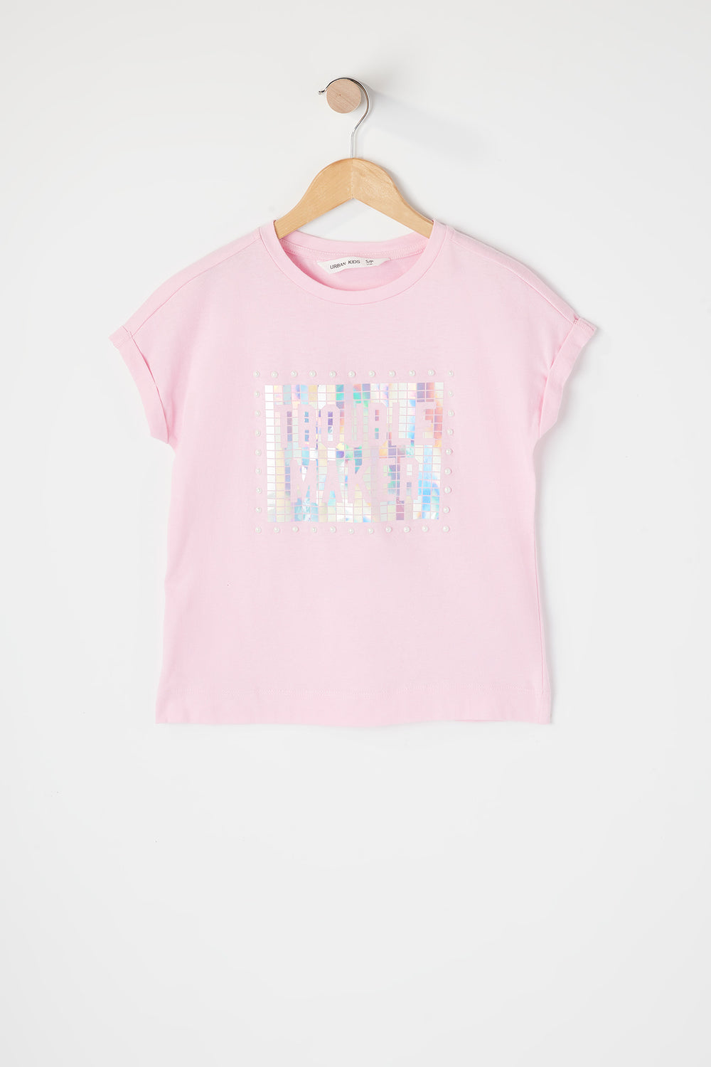 Girls Graphic Pearl T-Shirt Pink