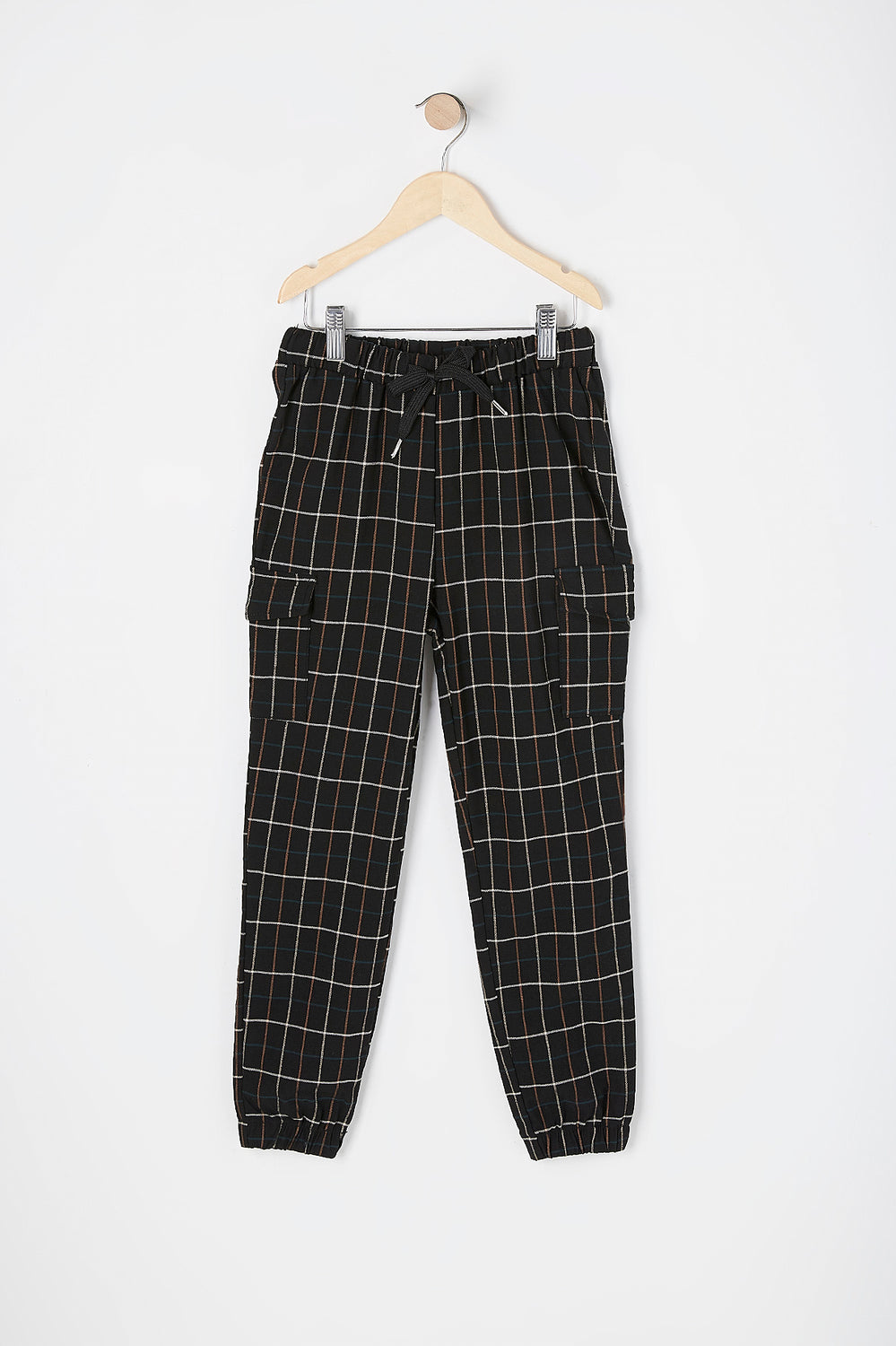 Girls Drawstring Black Plaid Stretch Cargo Jogger Black
