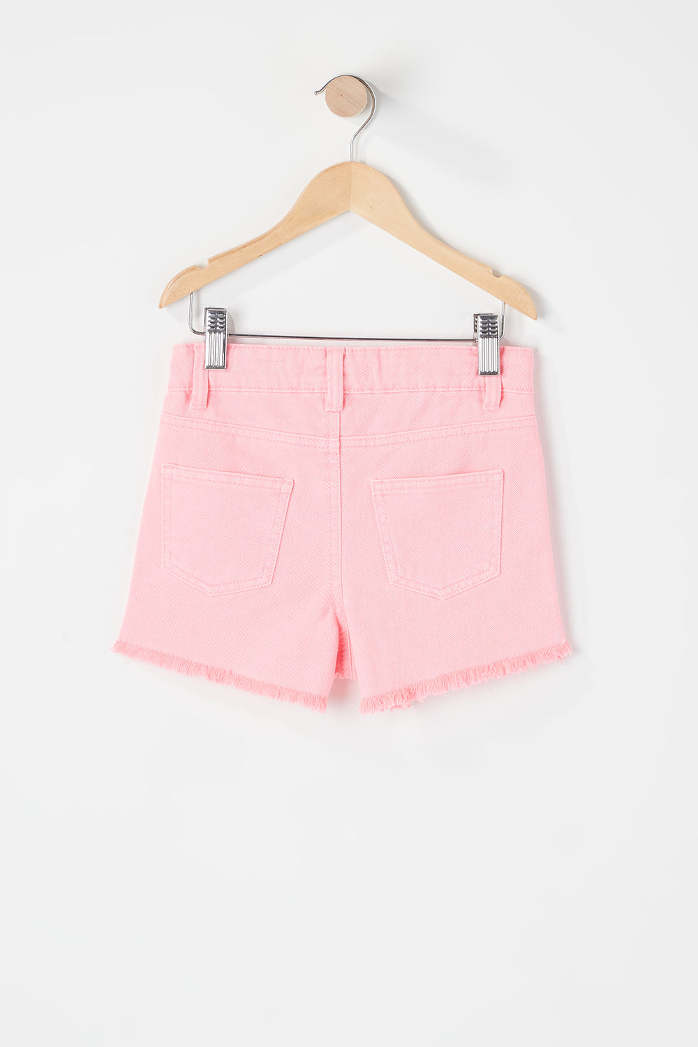 Girls Neon Raw Hem Short Pink