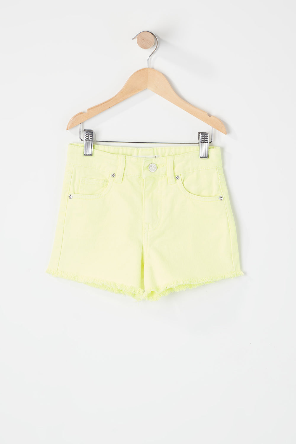 Girls Neon Raw Hem Short Yellow