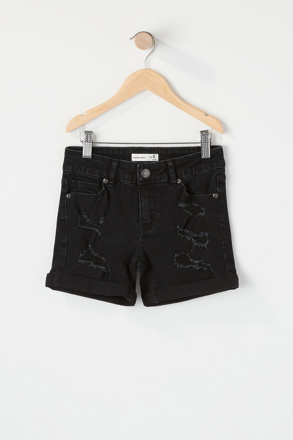 Girls Distressed Midi Short Black