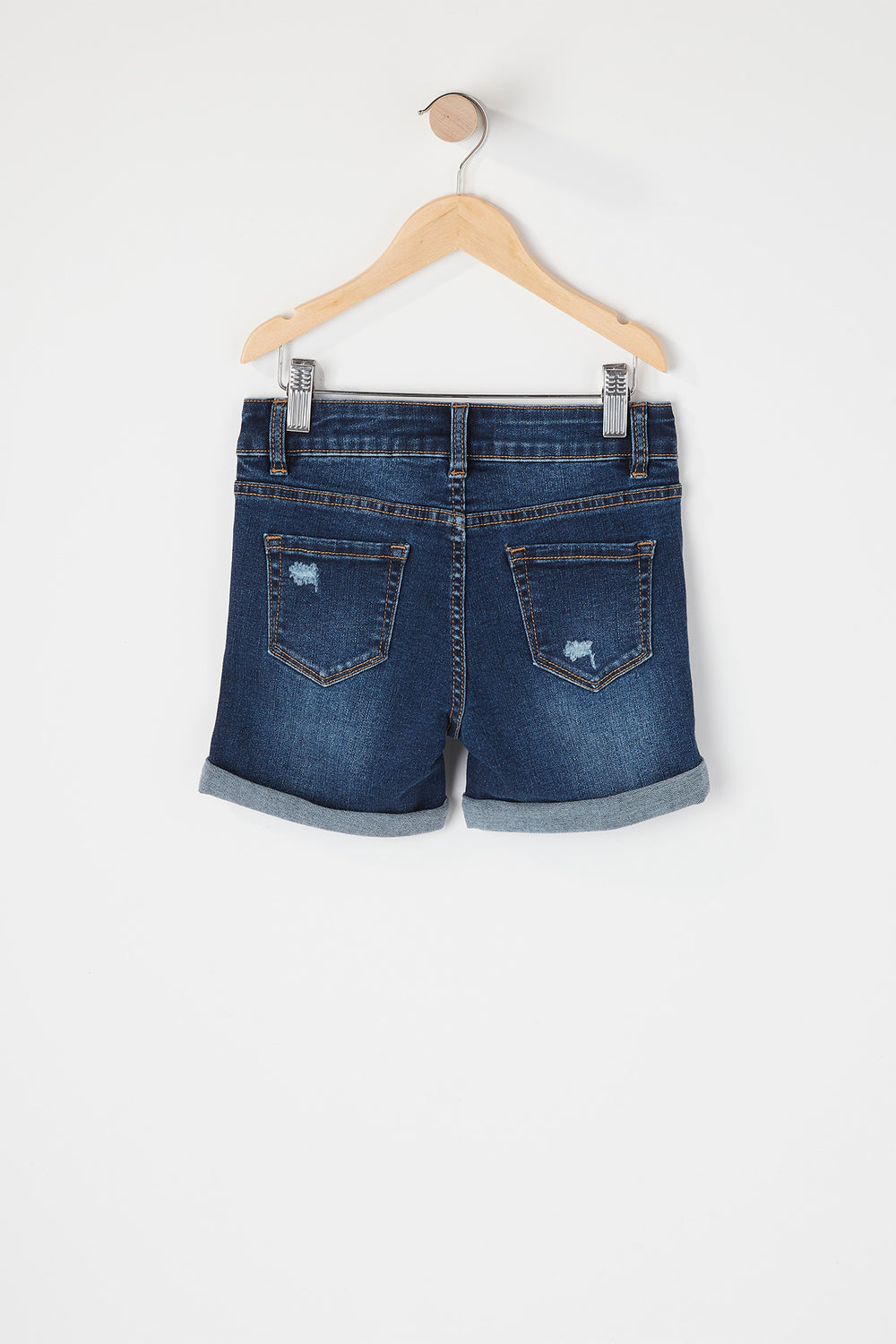 Girls Distressed Midi Short Rinse Denim