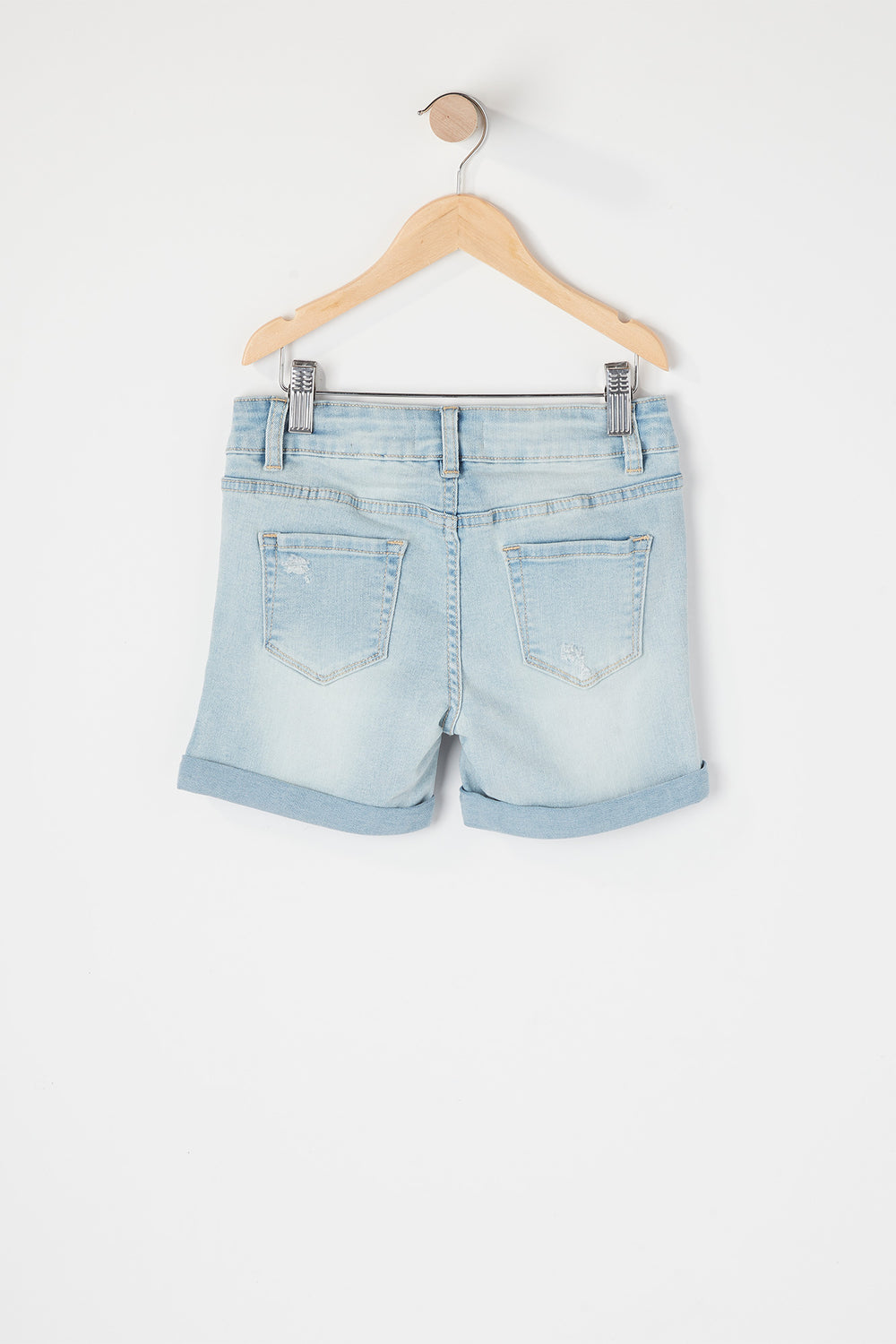 Girls Distressed Midi Short Light Denim Blue
