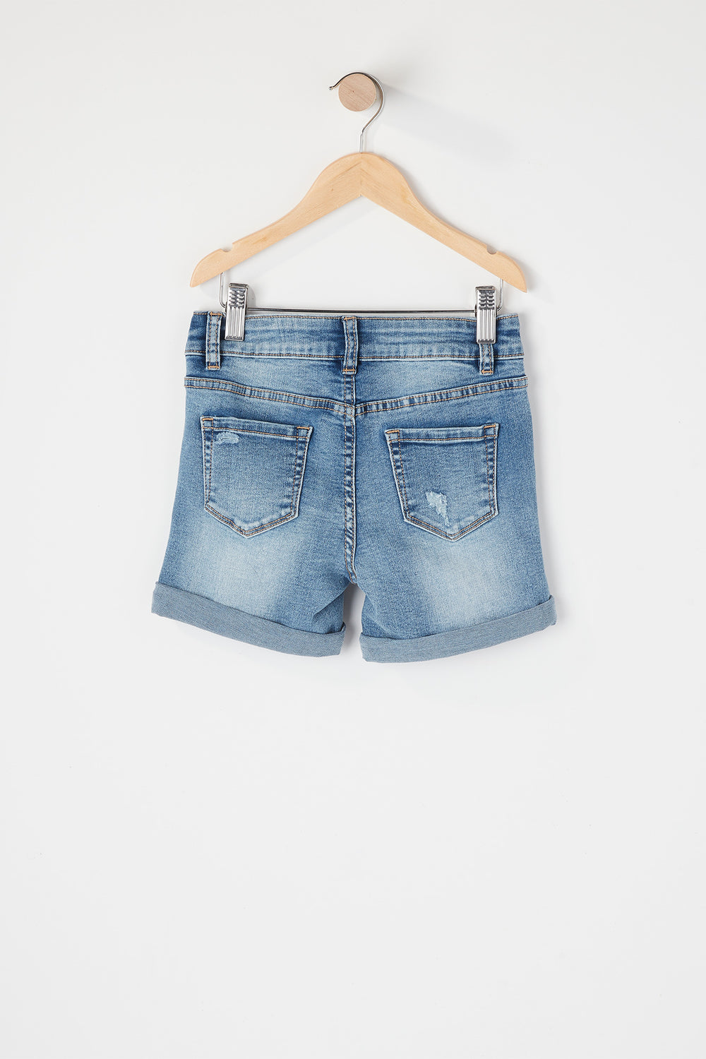 Girls Distressed Midi Short Medium Blue