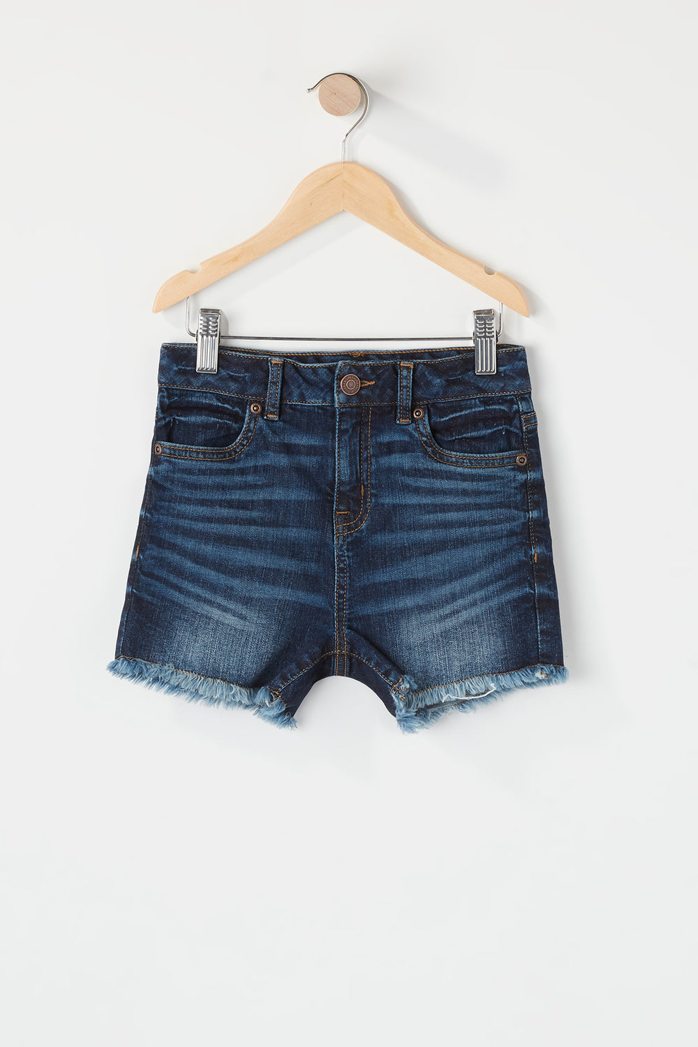 Girls Frayed Hem Denim Short Denim Blue