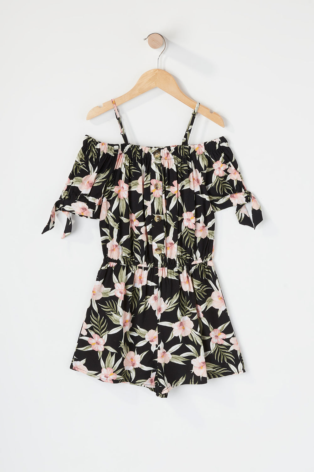 Girls Floral Off The Shoulder Romper Black